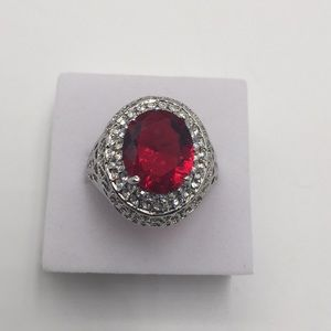 4 CARAT AAA RED RUBY WHITE CUBIC ZIRCONIA SILVER